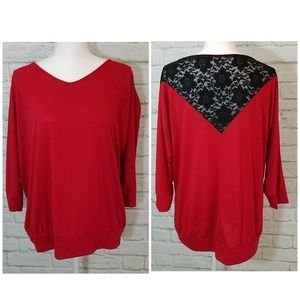 Torrid Red Top with Black Lace Back